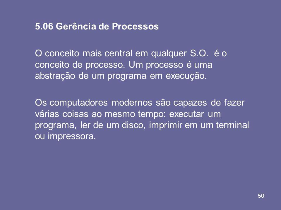 50 5.06 Gerência de Processos O conceito mais central em qualquer S.O. é o conceito de processo. Um processo é uma abstração de um programa em execuçã