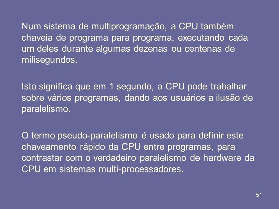 51 Num sistema de multiprogramação, a CPU também chaveia de programa para programa, executando cada um deles durante algumas dezenas ou centenas de mi