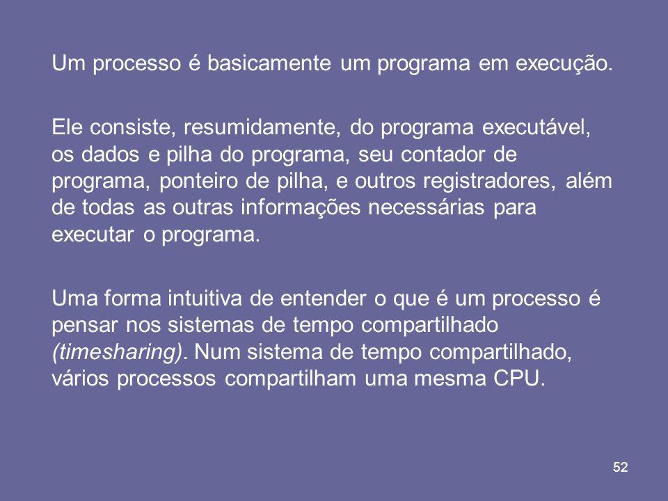 52 Um processo é basicamente um programa em execução. Ele consiste, resumidamente, do programa executável, os dados e pilha do programa, seu contador