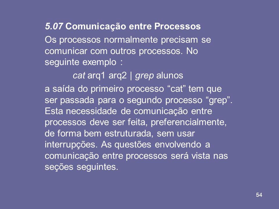 54 5.07 Comunicação entre Processos Os processos normalmente precisam se comunicar com outros processos. No seguinte exemplo : cat arq1 arq2 | grep al