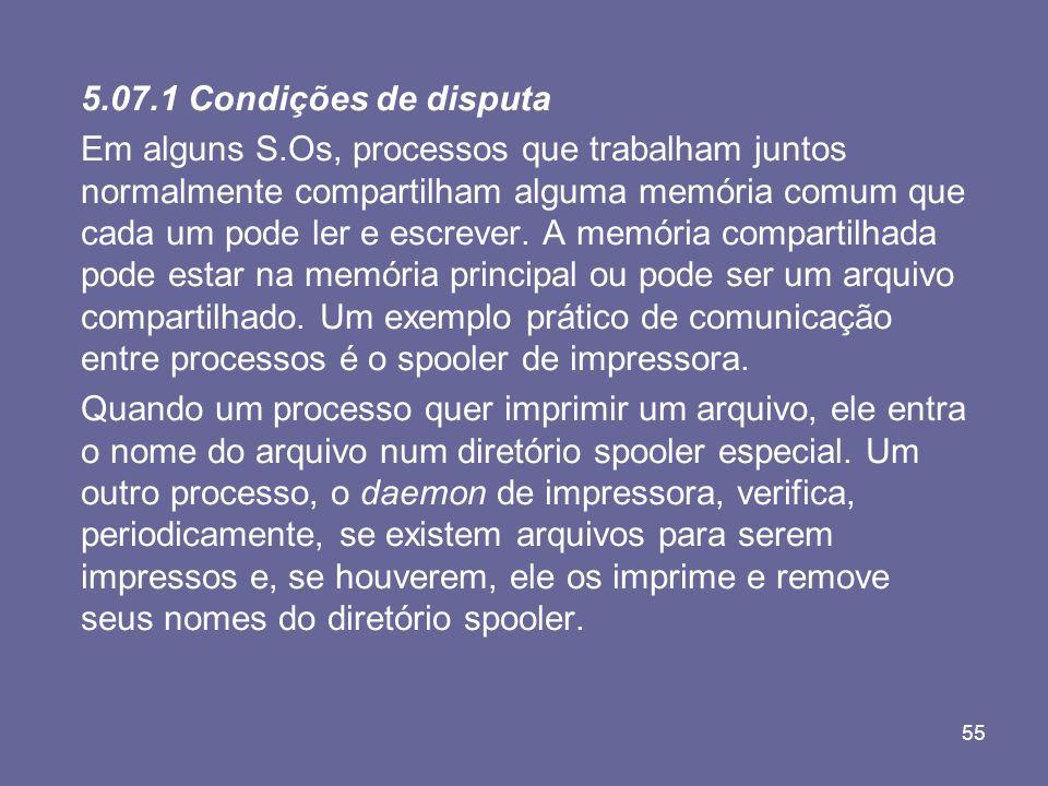 55 5.07.1 Condições de disputa Em alguns S.Os, processos que trabalham juntos normalmente compartilham alguma memória comum que cada um pode ler e esc