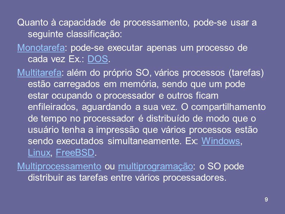 9 Quanto à capacidade de processamento, pode-se usar a seguinte classificação: MonotarefaMonotarefa: pode-se executar apenas um processo de cada vez E
