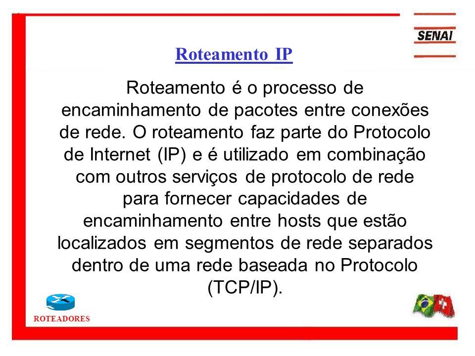 ROTEADORES Roteamento é o processo de encaminhamento de pacotes entre conexões de rede. O roteamento faz parte do Protocolo de Internet (IP) e é utili