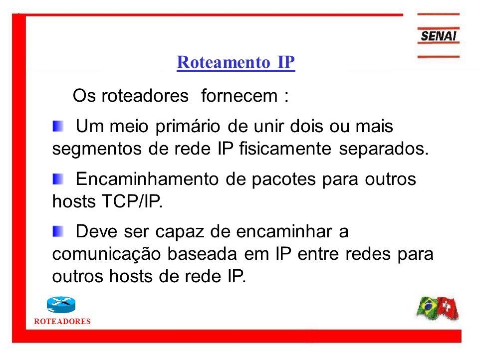 ROTEADORES Os roteadores fornecem : Um meio primário de unir dois ou mais segmentos de rede IP fisicamente separados. Encaminhamento de pacotes para o