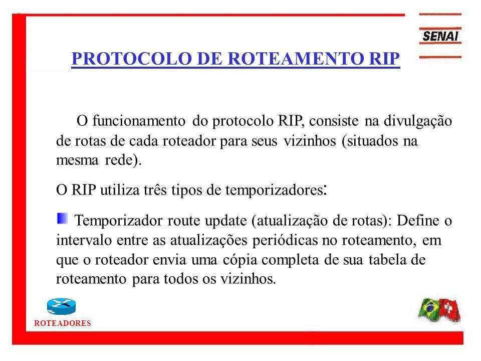 ROTEADORES PROTOCOLO DE ROTEAMENTO RIP O funcionamento do protocolo RIP, consiste na divulgação de rotas de cada roteador para seus vizinhos (situados