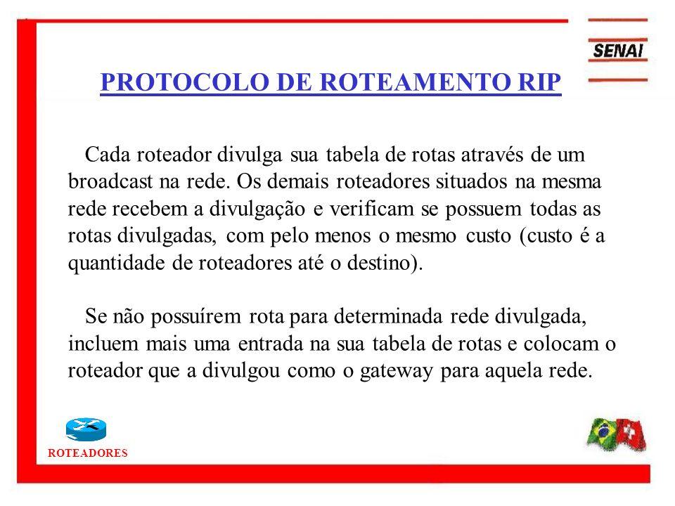 ROTEADORES PROTOCOLO DE ROTEAMENTO RIP