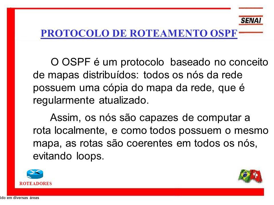 ROTEADORES O OSPF é um protocolo baseado no conceito de mapas distribuídos: todos os nós da rede possuem uma cópia do mapa da rede, que é regularmente