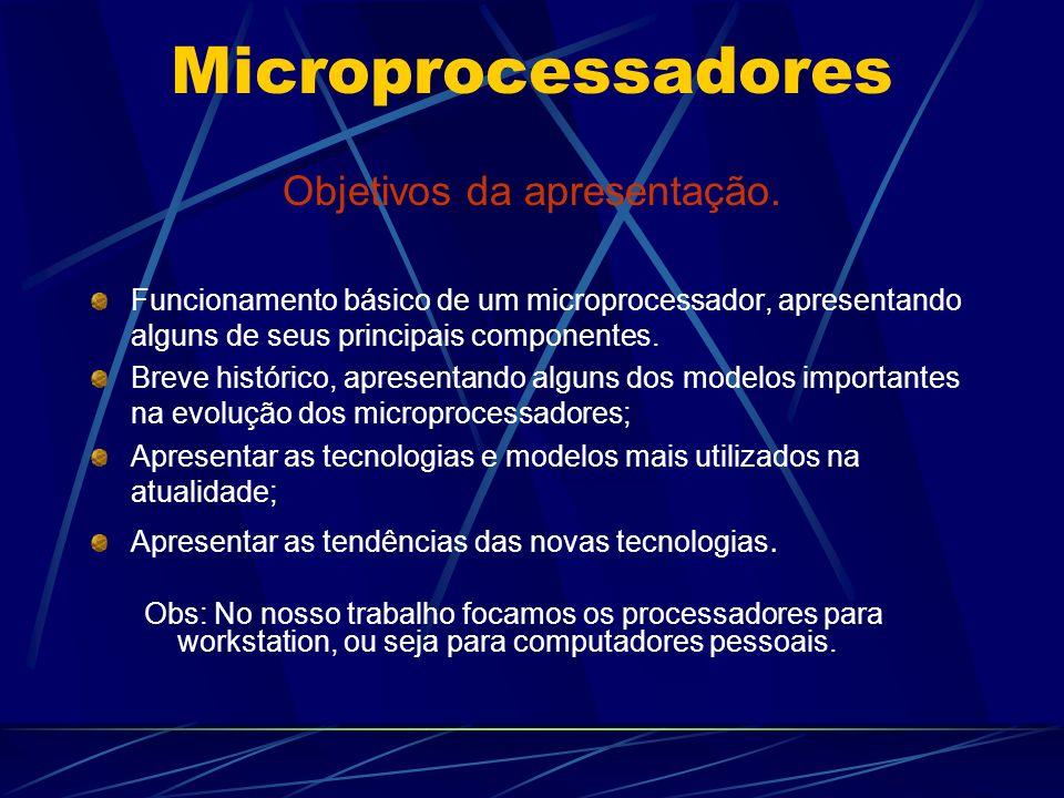 Microprocessadores Objetivos da apresentação.