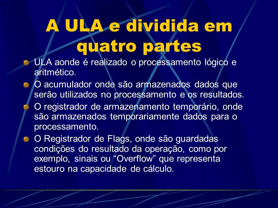 A ULA e dividida em quatro partes ULA aonde é realizado o processamento lógico e aritmético.