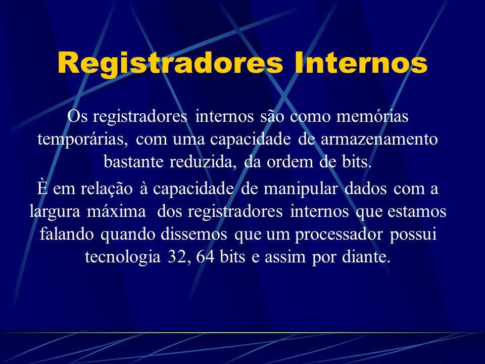 Registradores Internos Os registradores internos são como memórias temporárias, com uma capacidade de armazenamento bastante reduzida, da ordem de bits.
