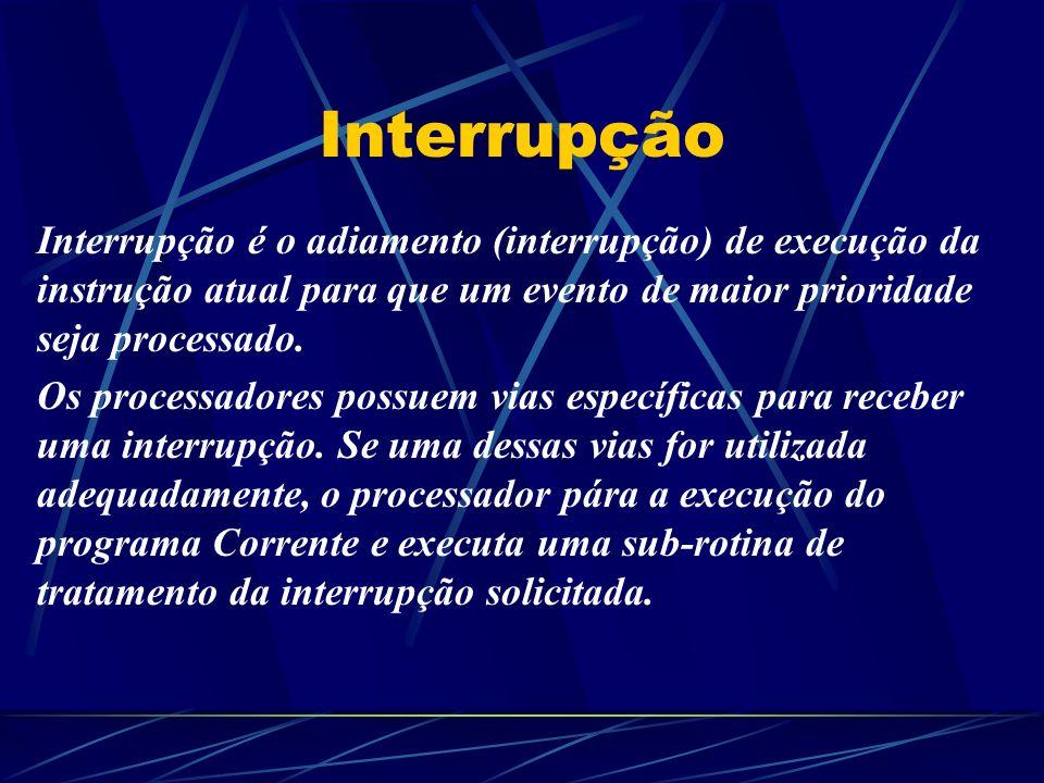 Interrupção Interrupção é o adiamento (interrupção) de execução da instrução atual para que um evento de maior prioridade seja processado.