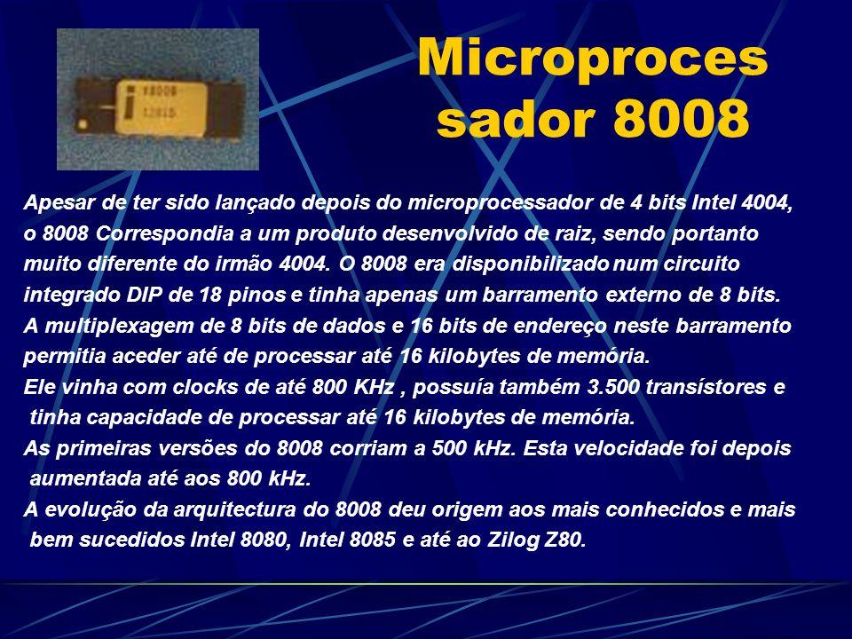 Microproces sador 8008 Apesar de ter sido lançado depois do microprocessador de 4 bits Intel 4004, o 8008 Correspondia a um produto desenvolvido de raiz, sendo portanto muito diferente do irmão 4004.