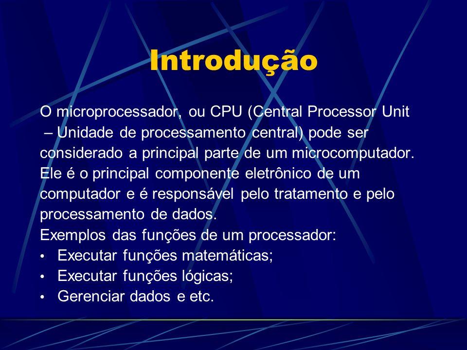 Introdução O microprocessador, ou CPU (Central Processor Unit – Unidade de processamento central) pode ser considerado a principal parte de um microcomputador.