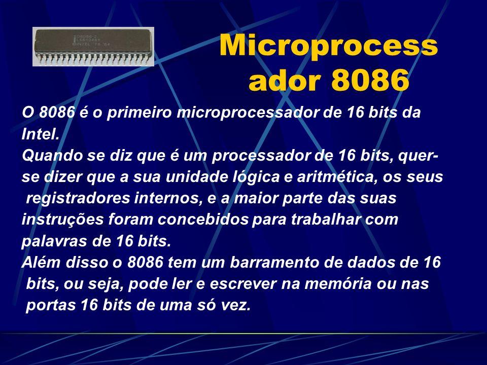 Microprocess ador 8086 O 8086 é o primeiro microprocessador de 16 bits da Intel.
