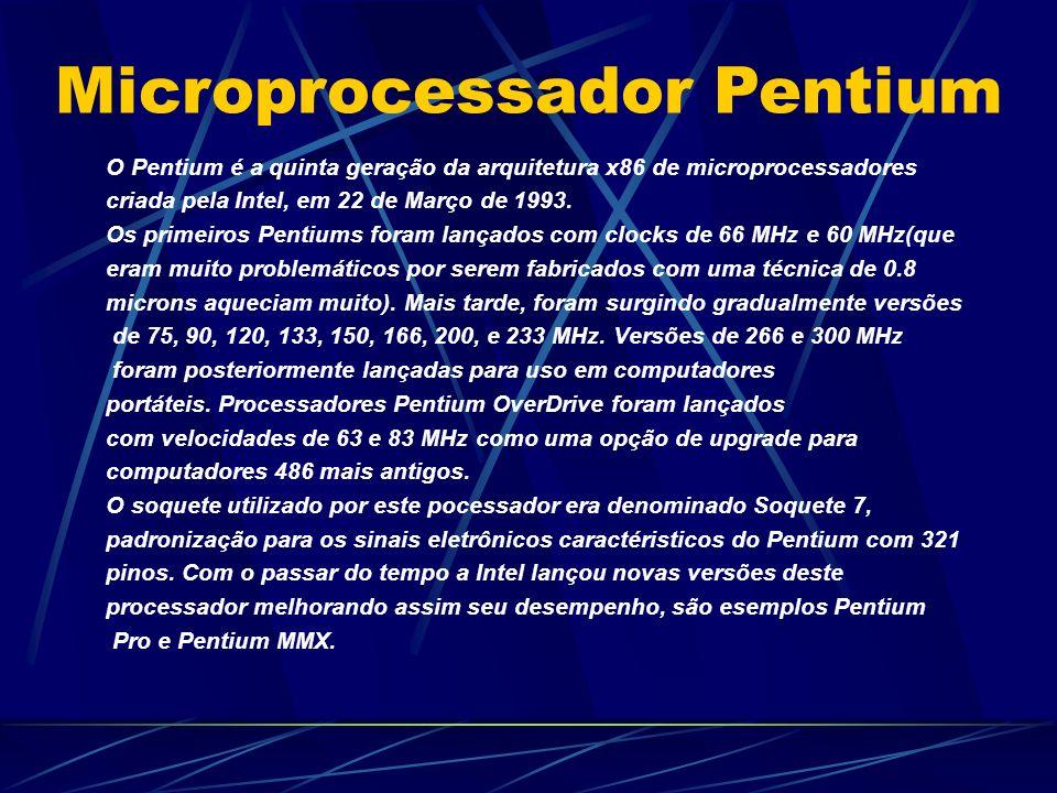 O Pentium é a quinta geração da arquitetura x86 de microprocessadores criada pela Intel, em 22 de Março de 1993.