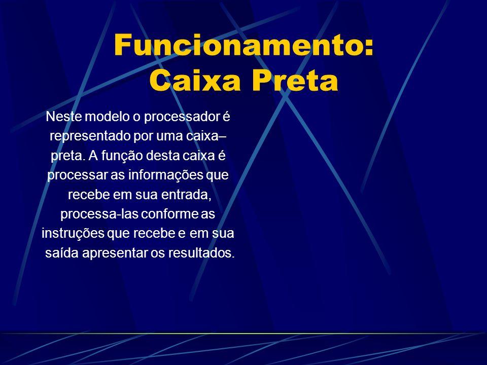 Funcionamento: Caixa Preta Neste modelo o processador é representado por uma caixa– preta.
