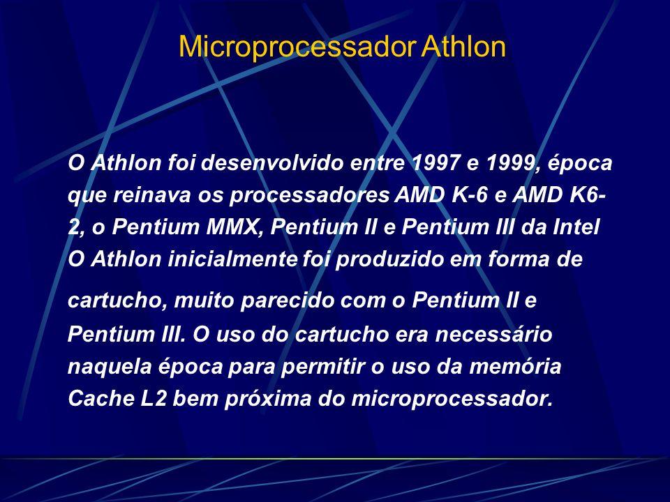 O Athlon foi desenvolvido entre 1997 e 1999, época que reinava os processadores AMD K-6 e AMD K6- 2, o Pentium MMX, Pentium II e Pentium III da Intel O Athlon inicialmente foi produzido em forma de cartucho, muito parecido com o Pentium II e Pentium III.