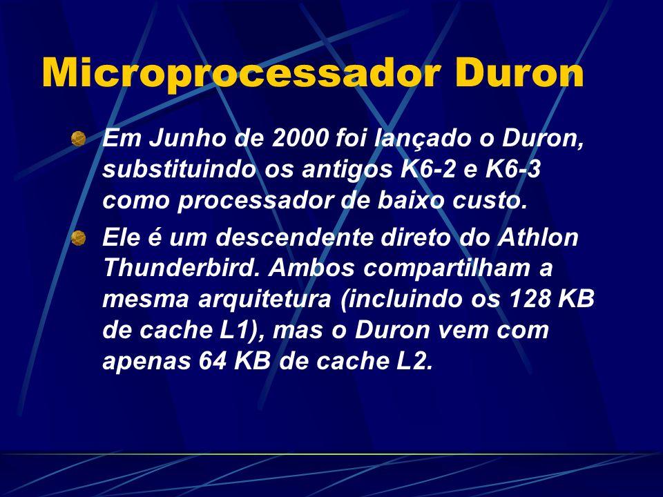 Em Junho de 2000 foi lançado o Duron, substituindo os antigos K6-2 e K6-3 como processador de baixo custo.