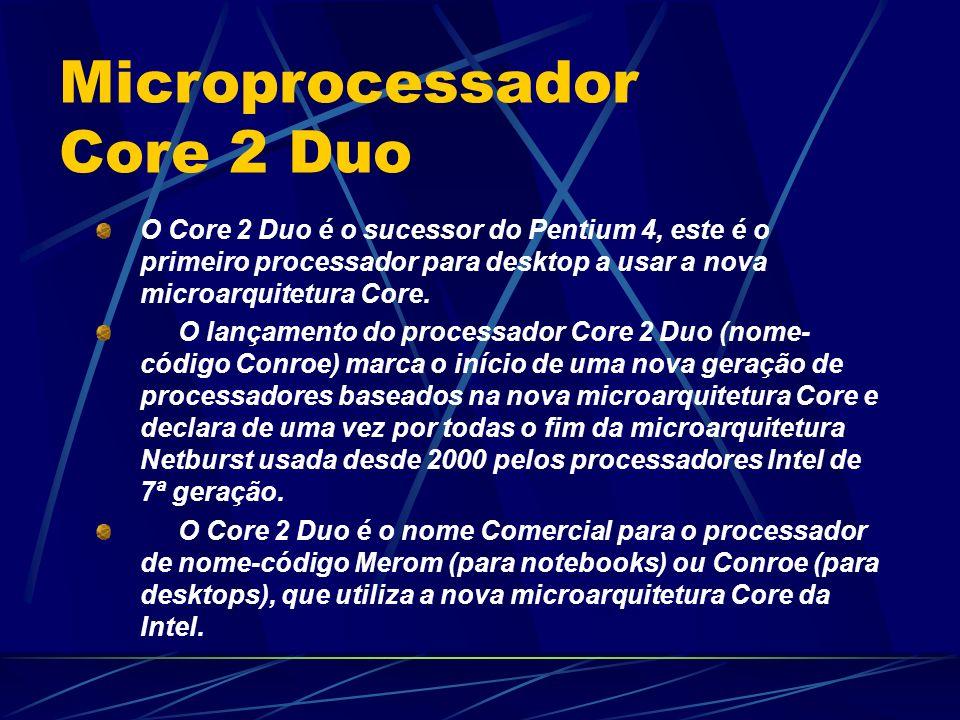 O Core 2 Duo é o sucessor do Pentium 4, este é o primeiro processador para desktop a usar a nova microarquitetura Core.