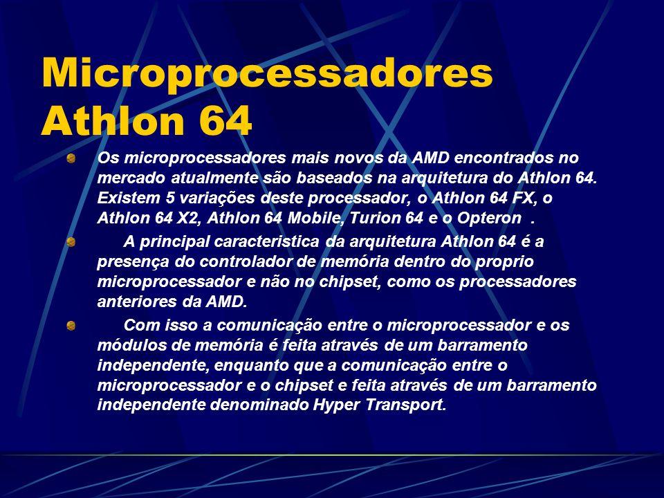 Os microprocessadores mais novos da AMD encontrados no mercado atualmente são baseados na arquitetura do Athlon 64.