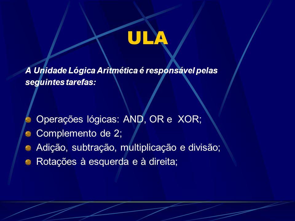 ULA A Unidade Lógica Aritmética é responsável pelas seguintes tarefas: Operações lógicas: AND, OR e XOR; Complemento de 2; Adição, subtração, multiplicação e divisão; Rotações à esquerda e à direita;