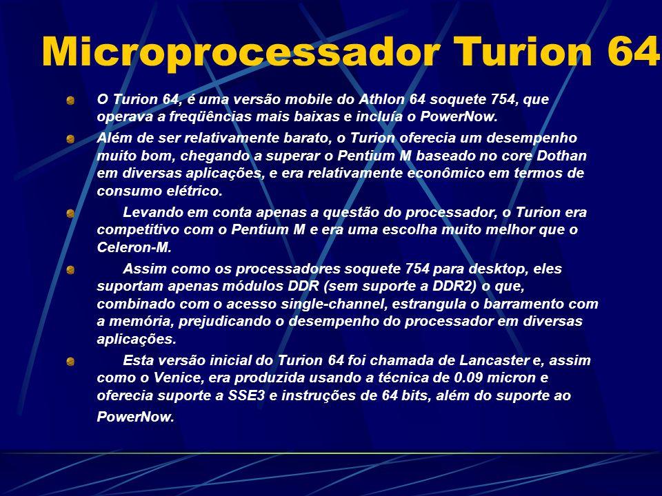 O Turion 64, é uma versão mobile do Athlon 64 soquete 754, que operava a freqüências mais baixas e incluía o PowerNow.