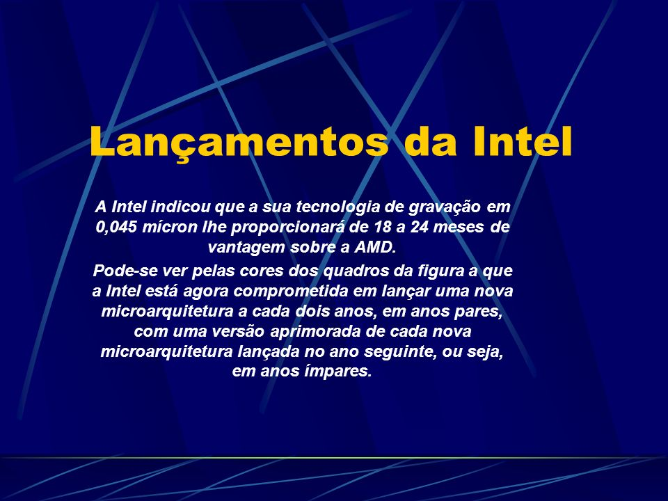 A Intel indicou que a sua tecnologia de gravação em 0,045 mícron lhe proporcionará de 18 a 24 meses de vantagem sobre a AMD.