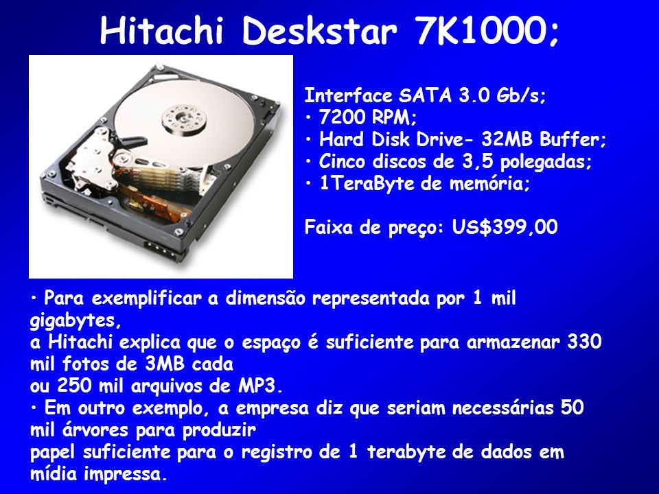 Hitachi Deskstar 7K1000; Interface SATA 3.0 Gb/s; 7200 RPM; Hard Disk Drive- 32MB Buffer; Cinco discos de 3,5 polegadas; 1TeraByte de memória; Faixa de preço: US$399,00 Para exemplificar a dimensão representada por 1 mil gigabytes, a Hitachi explica que o espaço é suficiente para armazenar 330 mil fotos de 3MB cada ou 250 mil arquivos de MP3.