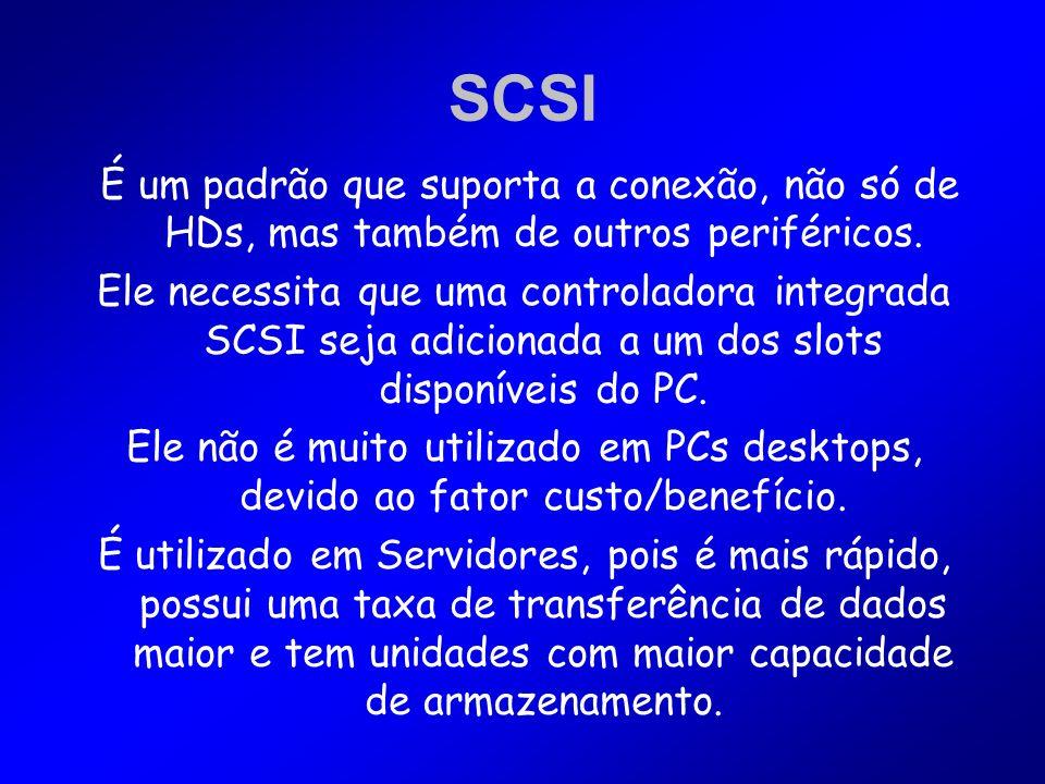 SCSI É um padrão que suporta a conexão, não só de HDs, mas também de outros periféricos. Ele necessita que uma controladora integrada SCSI seja adicio