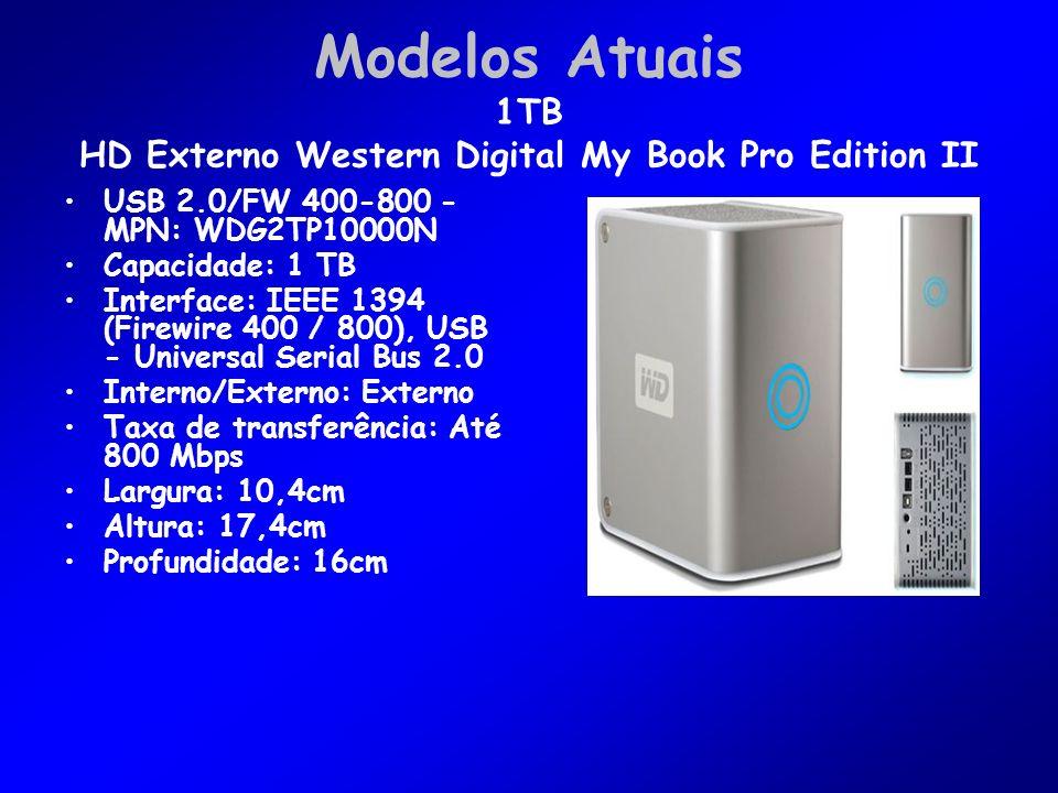Modelos Atuais 1TB HD Externo Western Digital My Book Pro Edition II USB 2.0/FW 400-800 - MPN: WDG2TP10000N Capacidade: 1 TB Interface: IEEE 1394 (Firewire 400 / 800), USB - Universal Serial Bus 2.0 Interno/Externo: Externo Taxa de transferência: Até 800 Mbps Largura: 10,4cm Altura: 17,4cm Profundidade: 16cm