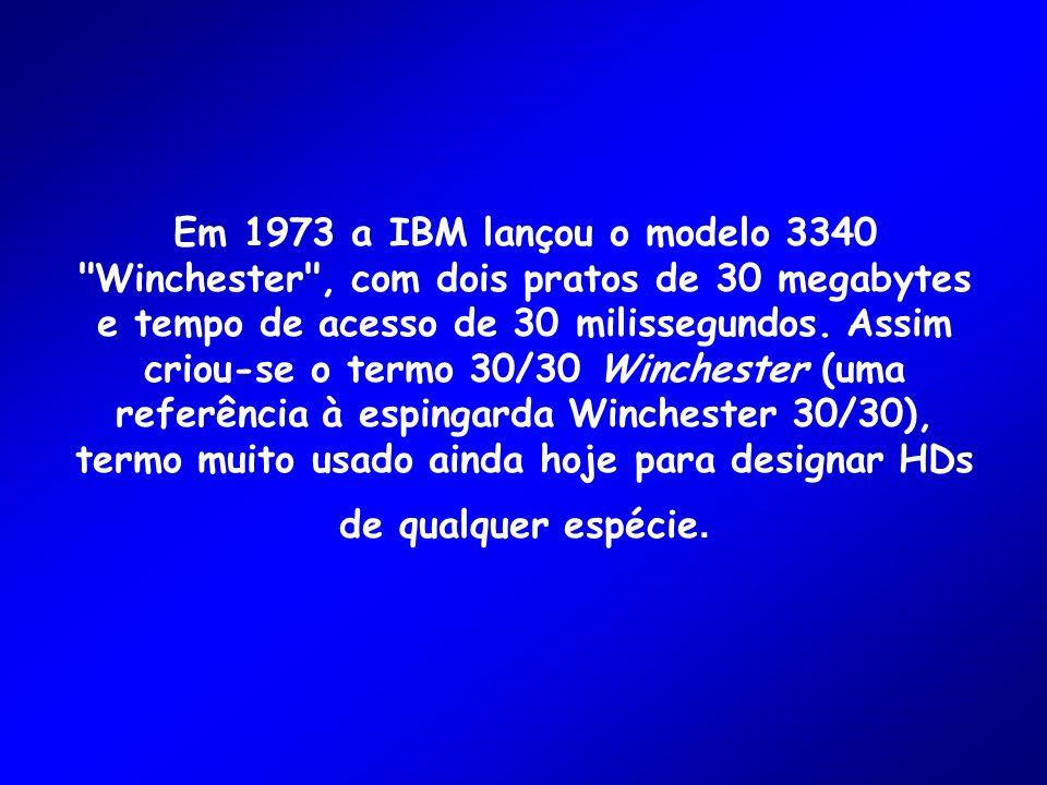 Em 1973 a IBM lançou o modelo 3340 Winchester , com dois pratos de 30 megabytes e tempo de acesso de 30 milissegundos.