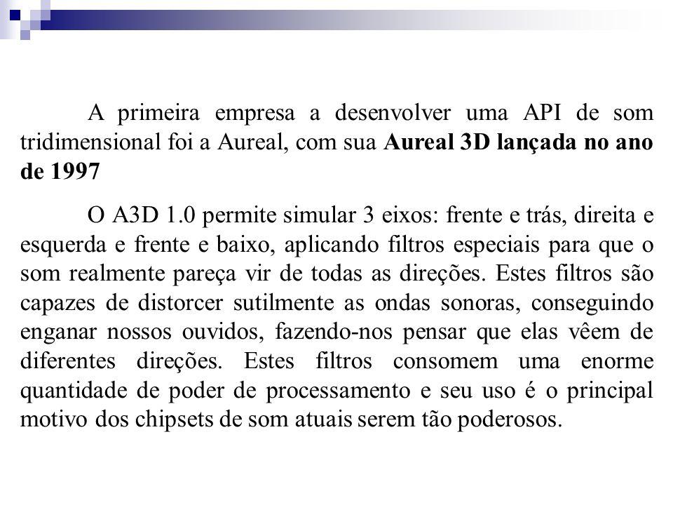 A primeira empresa a desenvolver uma API de som tridimensional foi a Aureal, com sua Aureal 3D lançada no ano de 1997 O A3D 1.0 permite simular 3 eixo
