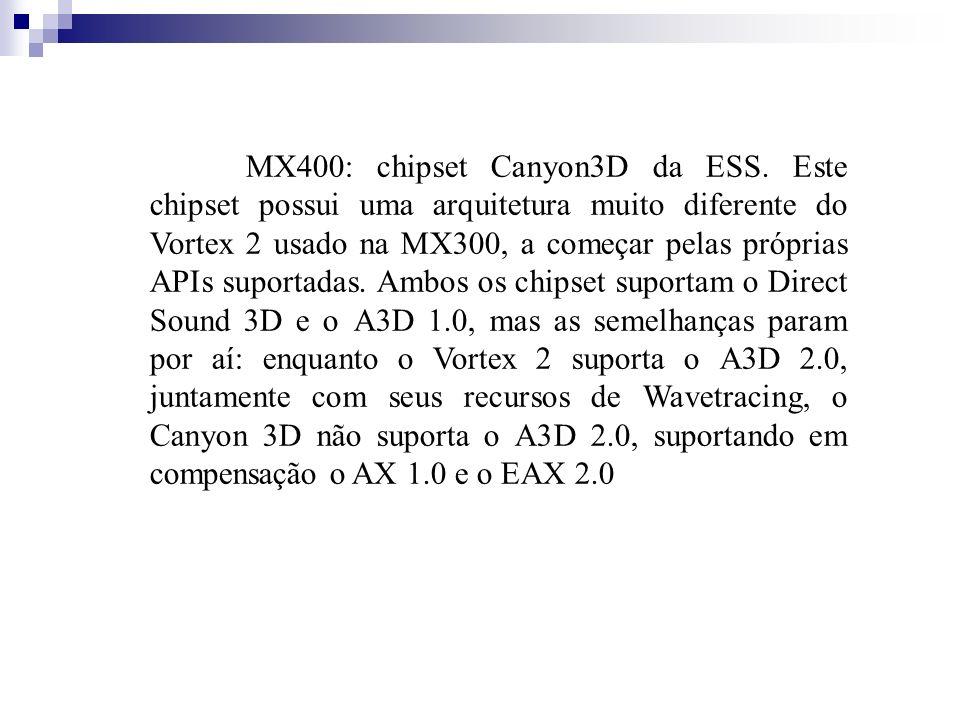 MX400: chipset Canyon3D da ESS. Este chipset possui uma arquitetura muito diferente do Vortex 2 usado na MX300, a começar pelas próprias APIs suportad