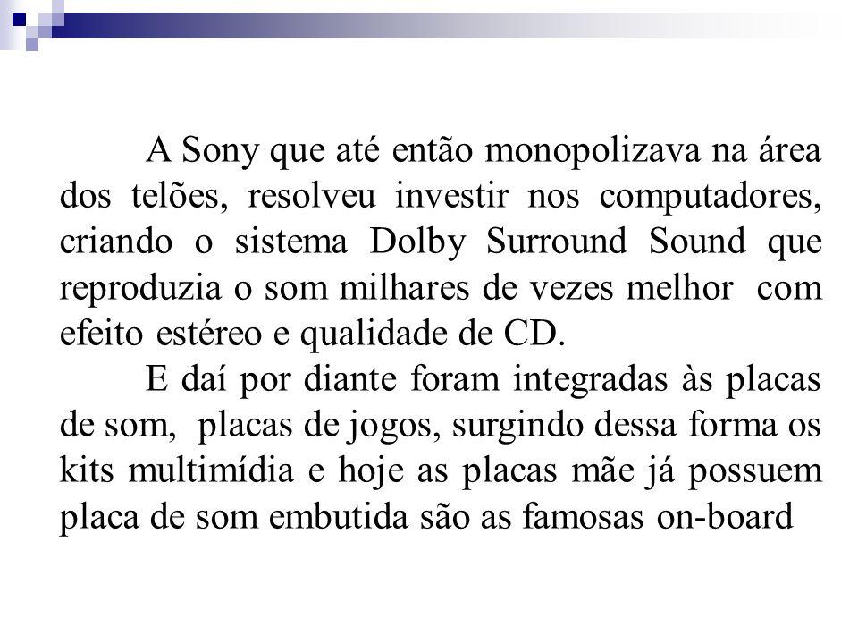 A Sony que até então monopolizava na área dos telões, resolveu investir nos computadores, criando o sistema Dolby Surround Sound que reproduzia o som