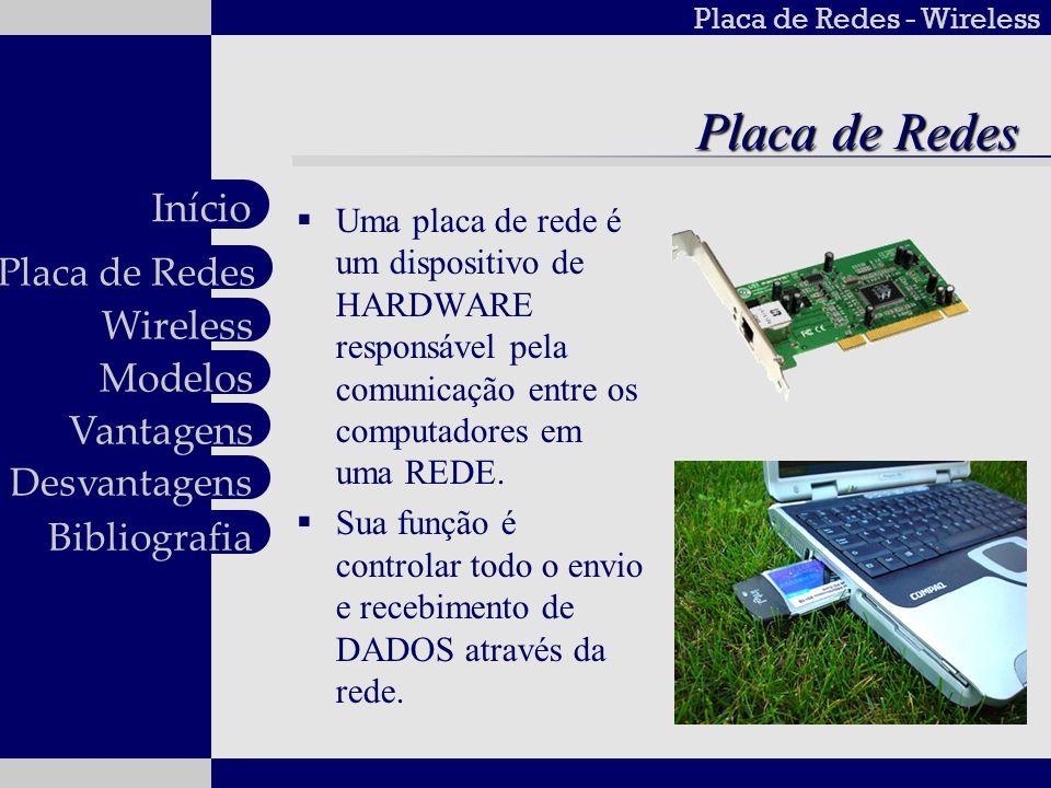 Placa de Redes - Wireless Wireless Modelos Vantagens Desvantagens Placa de Redes Início Bibliografia Placa de Redes Uma placa de rede é um dispositivo