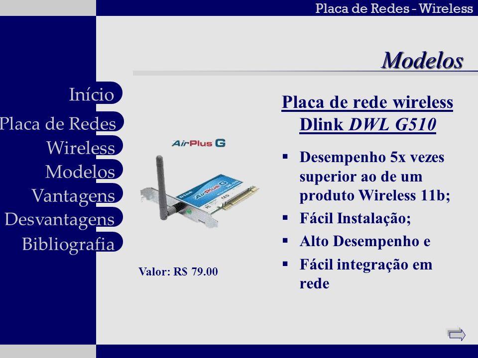 Placa de Redes - Wireless Wireless Modelos Vantagens Desvantagens Placa de Redes Início BibliografiaModelos Placa de rede wireless Dlink DWL G510 Dese