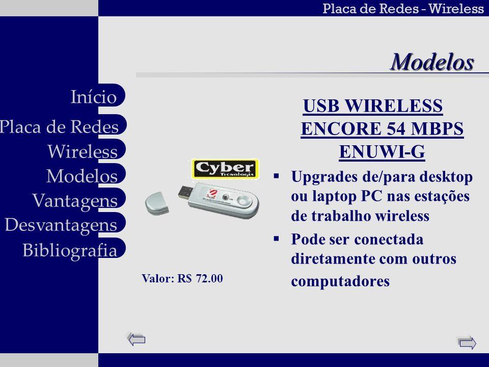 Placa de Redes - Wireless Wireless Modelos Vantagens Desvantagens Placa de Redes Início BibliografiaModelos USB WIRELESS ENCORE 54 MBPS ENUWI-G Upgrad