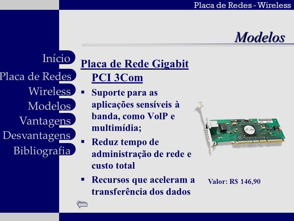 Placa de Redes - Wireless Wireless Modelos Vantagens Desvantagens Placa de Redes Início BibliografiaVantagens Flexibilidade e Mobilidade Velocidade e Simplicidade de instalação Custo reduzido