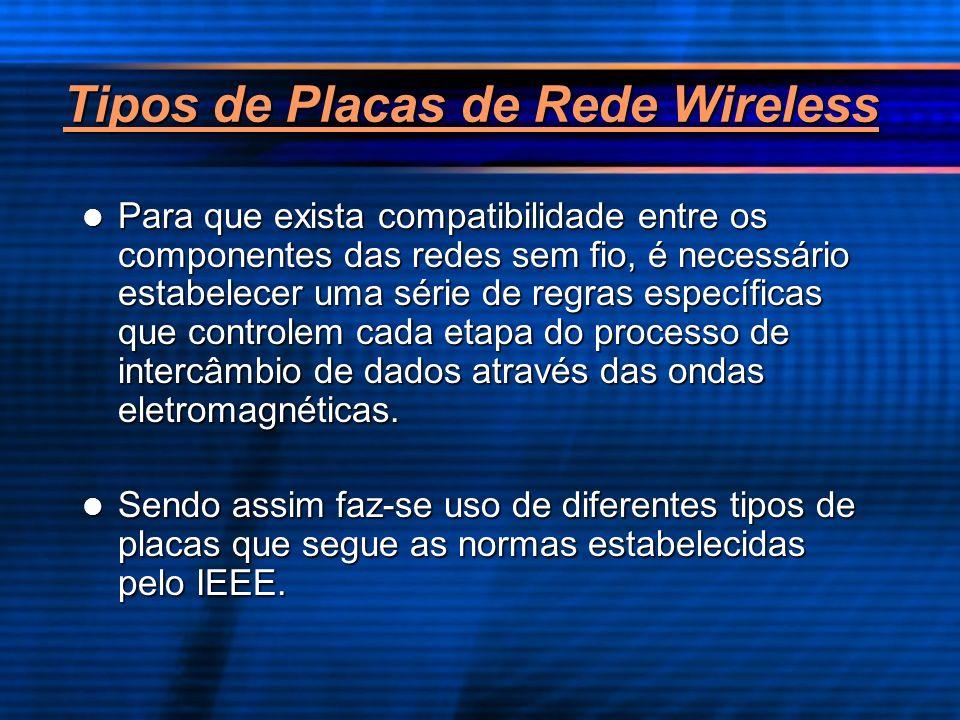 Tipos de Placas de Rede Wireless Para que exista compatibilidade entre os componentes das redes sem fio, é necessário estabelecer uma série de regras