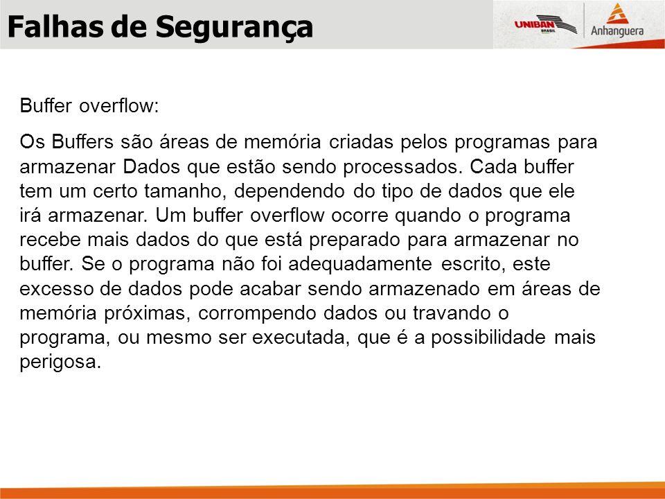 Buffer overflow: Os Buffers são áreas de memória criadas pelos programas para armazenar Dados que estão sendo processados. Cada buffer tem um certo ta