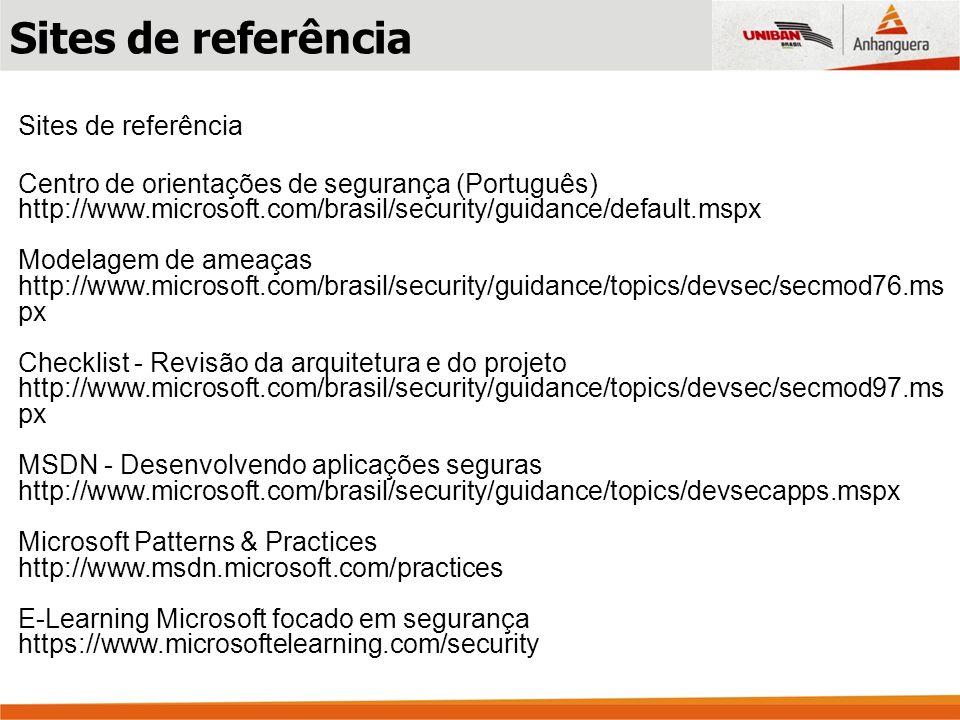 Centro de orientações de segurança (Português) http://www.microsoft.com/brasil/security/guidance/default.mspx Modelagem de ameaças http://www.microsof