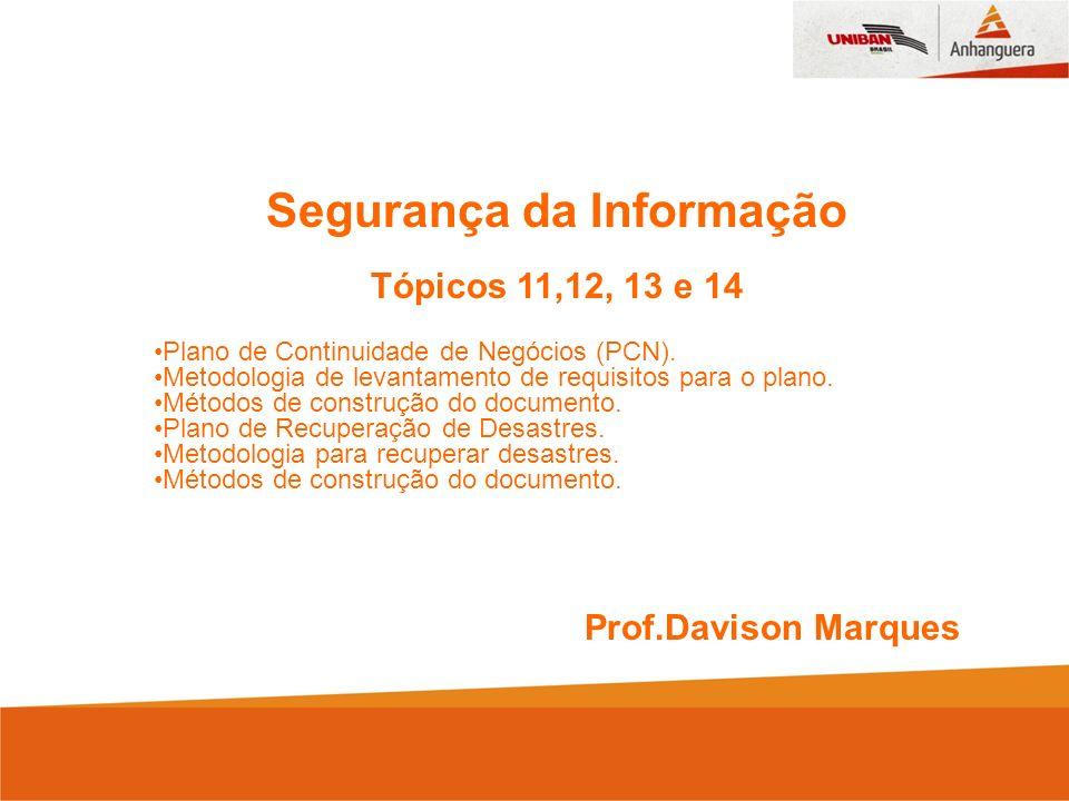 Segurança da Informação Tópicos 11,12, 13 e 14 Plano de Continuidade de Negócios (PCN). Metodologia de levantamento de requisitos para o plano. Método