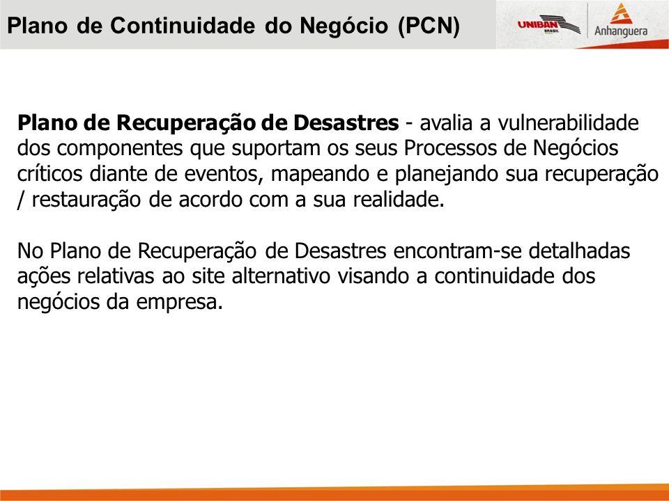 Plano de Recuperação de Desastres - avalia a vulnerabilidade dos componentes que suportam os seus Processos de Negócios críticos diante de eventos, ma