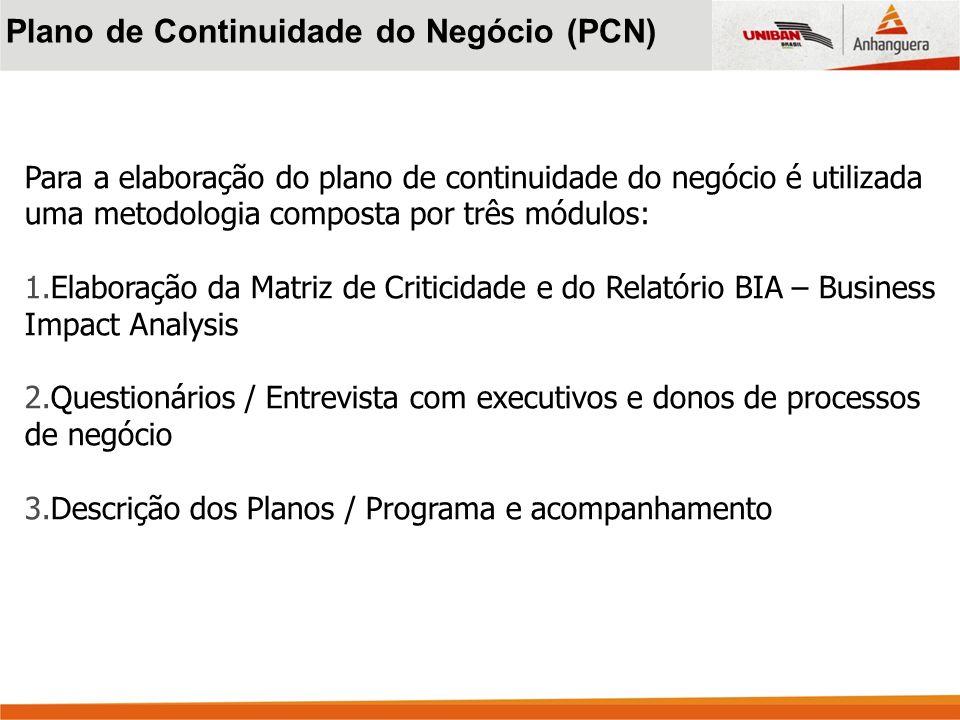 Para a elaboração do plano de continuidade do negócio é utilizada uma metodologia composta por três módulos: 1.Elaboração da Matriz de Criticidade e d