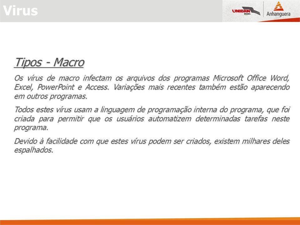 Tipos - Macro Os vírus de macro infectam os arquivos dos programas Microsoft Office Word, Excel, PowerPoint e Access. Variações mais recentes também e
