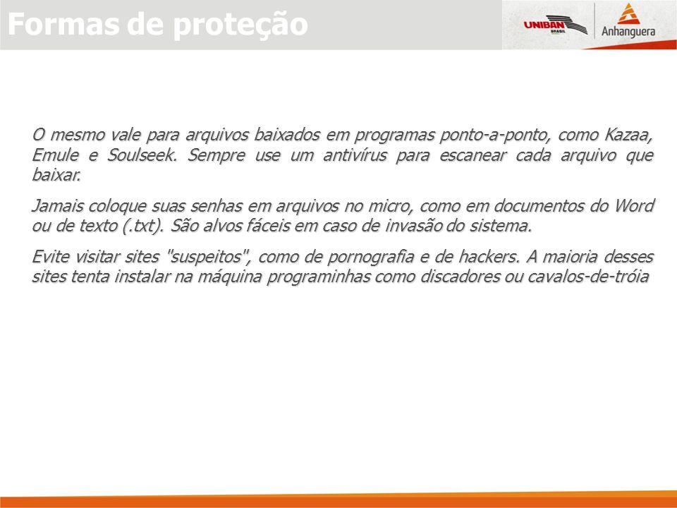 Anti-vírus Um software anti-virus deve monitorar automaticamente todos os arquivos que são abertos no computador.