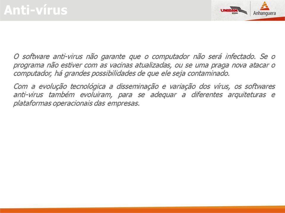 Anti-vírus O software anti-virus não garante que o computador não será infectado. Se o programa não estiver com as vacinas atualizadas, ou se uma prag