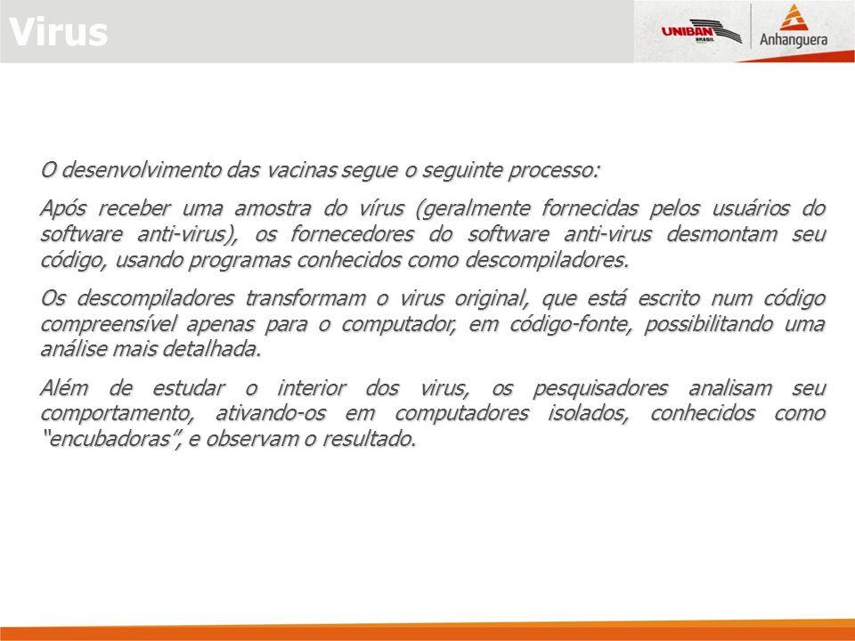 Virus O desenvolvimento das vacinas segue o seguinte processo: Após receber uma amostra do vírus (geralmente fornecidas pelos usuários do software ant