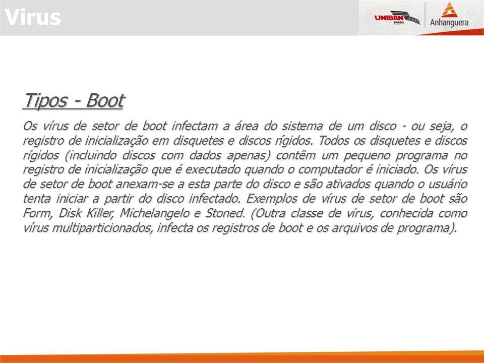 Tipos - Boot Os vírus de setor de boot infectam a área do sistema de um disco - ou seja, o registro de inicialização em disquetes e discos rígidos. To