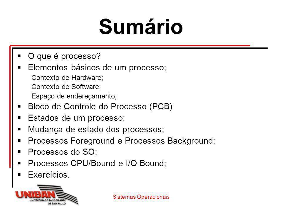 Sistemas Operacionais Sumário O que é processo? Elementos básicos de um processo; Contexto de Hardware; Contexto de Software; Espaço de endereçamento;